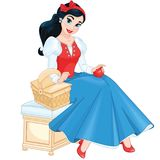 La muchacha se vistió en un traje de princesa Snow White Imágenes de archivo libres de regalías