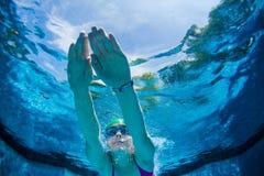 La muchacha se zambulle piscina bajo el agua Imagenes de archivo