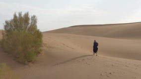 La muchacha sola camina a lo largo de las dunas de arena almacen de metraje de vídeo