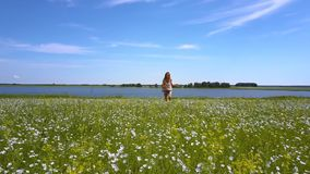 La muchacha sonriente feliz corre en campo floreciente del alforfón metrajes