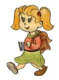 La muchacha sonriente va a la escuela, colegiala Foto de archivo libre de regalías