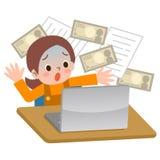La muchacha sorprendida a la información se escapó de computadora personal Foto de archivo libre de regalías