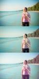 La muchacha tailandesa asiática se está colocando en la playa en Tailandia con feliz fotografía de archivo libre de regalías