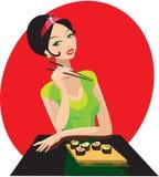 La muchacha tiene sushi stock de ilustración