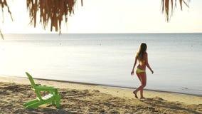 La muchacha toma el sol en la playa con opiniones del mar HD almacen de video