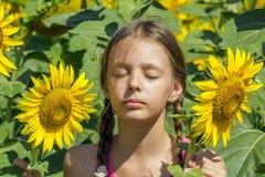 La muchacha toma el sol entre los girasoles Foto de archivo