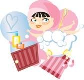 La muchacha toma un baño Imagen de archivo libre de regalías