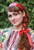 La muchacha ucraniana en un juego nacional Fotos de archivo libres de regalías