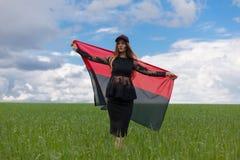 La muchacha ucraniana hermosa en una camisa de tela escocesa y un dril de algodón del cortocircuito pone en cortocircuito Fotografía de archivo