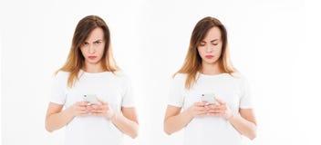 La muchacha utilizó el smartphone, teléfono móvil aislado en la cuesta blanca del fondo fotografía de archivo libre de regalías