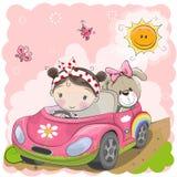 La muchacha va en el coche stock de ilustración