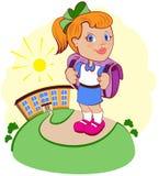 La muchacha va a la escuela stock de ilustración