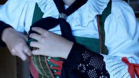 La muchacha viste un vestido tirolés complejo, típico de las áreas alpinas tradicionales del Tyrol almacen de video