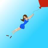 La muchacha vuela ilustración del vector