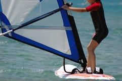 La muchacha windsurf Fotografía de archivo