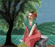 La muchacha y el campo 02 Stock de ilustración