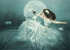 La muchacha y el cisne Imágenes de archivo libres de regalías