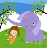 La muchacha y el elefante Imagen de archivo libre de regalías