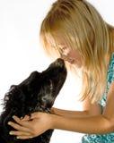La muchacha y el perro Fotografía de archivo