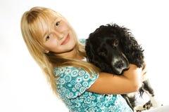 La muchacha y el perro Fotografía de archivo libre de regalías