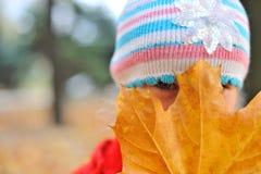 La muchacha y la hoja del otoño Foto de archivo libre de regalías