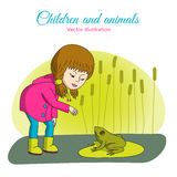 La muchacha y la rana ilustración del vector