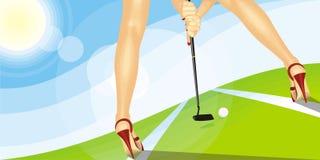 La muchacha y un golf Imágenes de archivo libres de regalías
