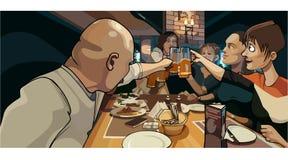 La muchedumbre de la historieta de gente tintinea las tazas al banquete stock de ilustración