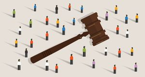 La muchedumbre y el mazo martillan concepto del símbolo de decisión social del juicio en legal y los éticas stock de ilustración