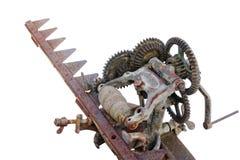 La muela abrasiva del viejo vintage para afilar de los cuchillos de la maquinaria agrícola aisló fotografía de archivo libre de regalías