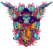 La muerte. Vector illustration ideal for printing on apparel clothing Royalty Free Stock Photo