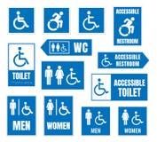 La muestra accesible del retrete, lavabo firma para las personas discapacitadas ilustración del vector