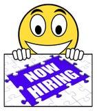 La muestra ahora de alquiler muestra a Job Opening And Recruiting Employees Foto de archivo libre de regalías