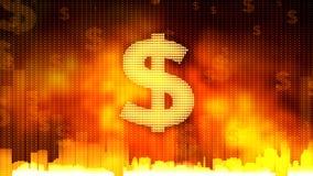 La muestra de dólar en el fondo ardiente, dinero gobierna el mundo, adopción del presupuesto, finanzas Fotografía de archivo libre de regalías