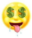 La muestra de dólar observa el Emoticon Emoji stock de ilustración