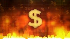 La muestra de dólar que pulsa en el fondo ardiente, dinero gobierna el mundo, avaricia, obsesión libre illustration