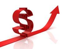 La muestra de dólar roja en la mudanza de la flecha crece Imagen de archivo libre de regalías