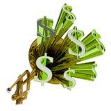 La muestra de dólar significa moneda y finanzas del dinero ilustración del vector