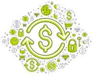 La muestra de d?lar y la flecha del lazo, intercambio de moneda, rentabilidad de la inversi?n, concepto del seguro, reembolso, me ilustración del vector