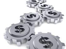 La muestra de dólar gears.money trabaja concepto Imagen de archivo