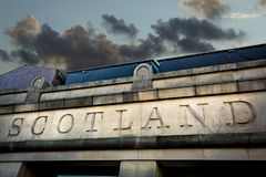 La muestra de Escocia talló en piedra en la capital Edimburgo Imagenes de archivo