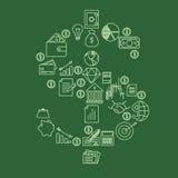 la muestra de $ hecha de iconos de las finanzas y de las actividades bancarias almacena vector Imagen de archivo