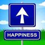 La muestra de la felicidad indica las flechas anuncio y positivo Foto de archivo libre de regalías