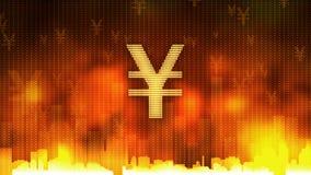 La muestra de yenes que pulsa en el fondo ardiente, dinero gobierna el mundo, avaricia, obsesión almacen de metraje de vídeo