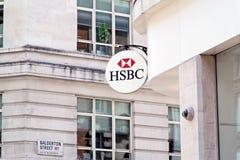La muestra del banco de HSBC Foto de archivo libre de regalías