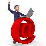 La muestra del correo electrónico indica el hombre de negocios y los negocios Fotografía de archivo libre de regalías