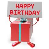 La muestra del feliz cumpleaños significa presentes y los regalos Imagenes de archivo