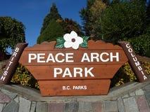 La muestra del parque del arco del melocotón imagen de archivo libre de regalías