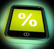 La muestra del por ciento en móvil muestra descuento o la inversión del porcentaje stock de ilustración