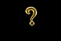 Signo de interrogación de oro Fotografía de archivo